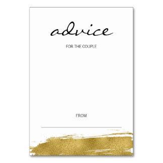 Modern Gold Brushstroke Wedding Advice Card