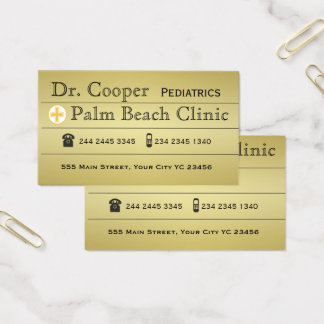 Modern Gold  Doctor Clinic Appointment Cross Business Card