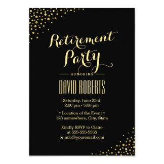 Modern Gold Dots Retirement Party Card