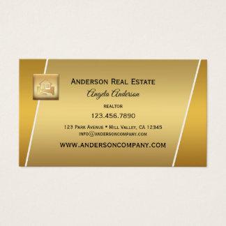 Modern Gold Logo Professional Realtor Businesscard Business Card