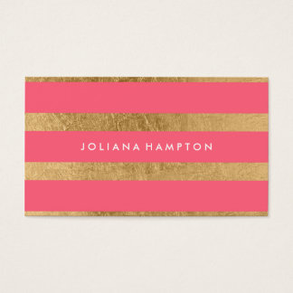 Modern Gold Luxe Business Card, pink Business Card