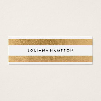 Modern Gold Luxe Business Card, Skinny Mini Business Card