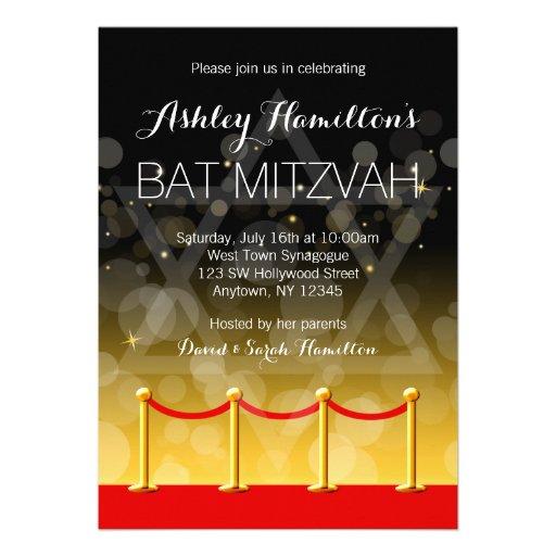 Modern Gold Red Carpet Hollywood Bat Mitzvah Custom Invites