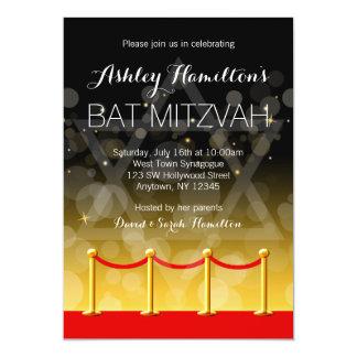 Modern Gold Red Carpet Hollywood Bat Mitzvah 13 Cm X 18 Cm Invitation Card