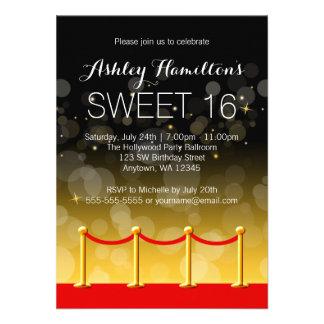 Modern Gold Red Carpet Hollywood Sweet 16 Invite