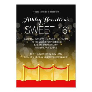 Modern Gold Red Carpet Hollywood Sweet 16 13 Cm X 18 Cm Invitation Card
