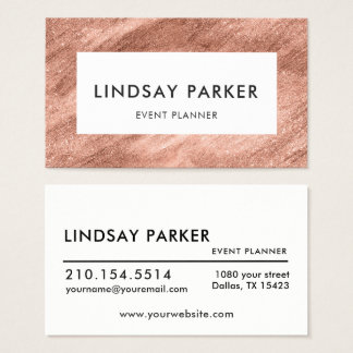 Modern Gold Rose Event Planner Business Card