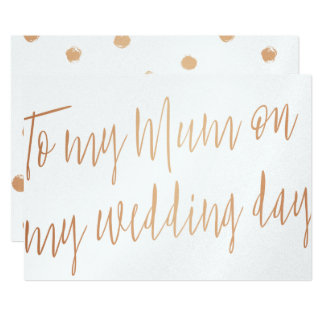 "Modern Gold Rose ""To my mum on my wedding day"" Card"