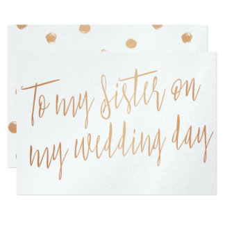 """Modern Gold Rose """"To my sister on my wedding day"""" Card"""