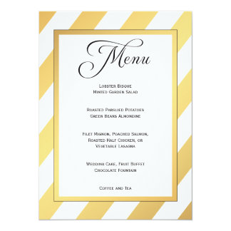 Modern Gold Stripes Wedding Menu 14 Cm X 19 Cm Invitation Card