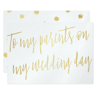 """Modern Gold """"To my parents on my wedding day"""" Card"""