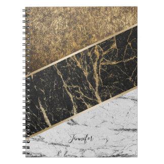 Modern Gold Trendy Black & White Marble Texture Spiral Notebook