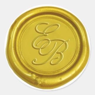 Modern Gold Wax Monogram Elegant Wedding Classic Round Sticker
