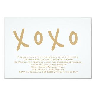 Modern gold xoxo rehearsal dinner invitations