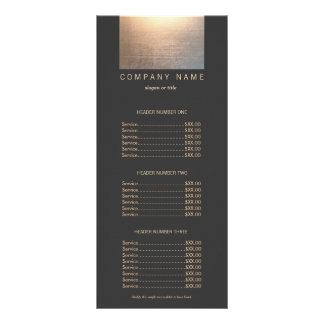 Modern Gold Zen Glow Salon Price List Menu Custom Rack Card