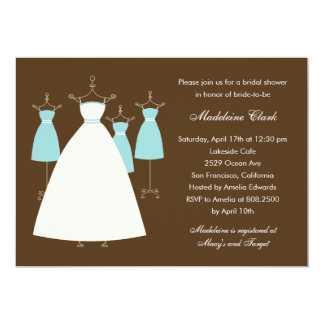Modern Gowns Bridal Shower Invitation - Turquoise