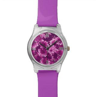 Modern Graphic Dahlia Pattern, Amethyst Purple Watch