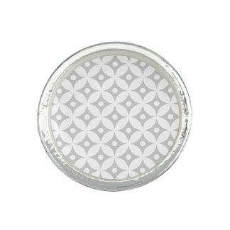 Modern Gray and White Circle Polka Dots Pattern Ring