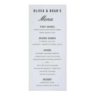 Modern Gray Bokeh Blur Elegant Wedding Menu Card