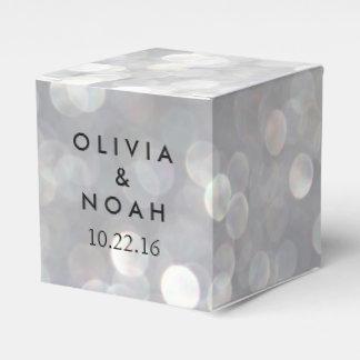 Modern Gray Bokeh Elegant Wedding Favor Box Wedding Favour Box