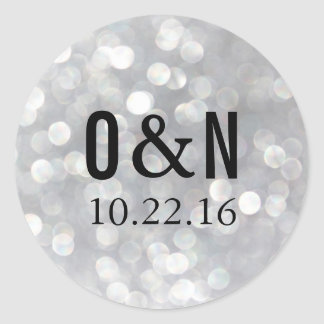 Modern Gray Bokeh Monogram Wedding Stickers