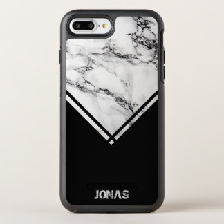 Modern Gray & White Marble And Black Stripes OtterBox Symmetry iPhone 8 Plus/7 Plus Case