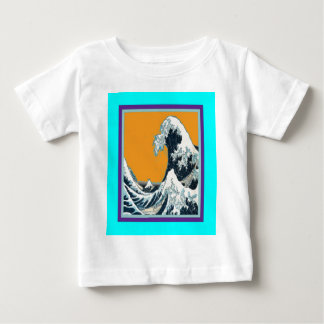 Modern Great Wave in orange Pillow by SHARLES Baby T-Shirt