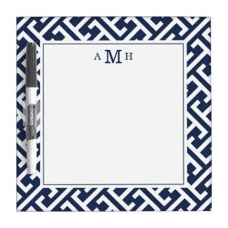 Modern Greek Key Pattern Monogram Dry Erase Board