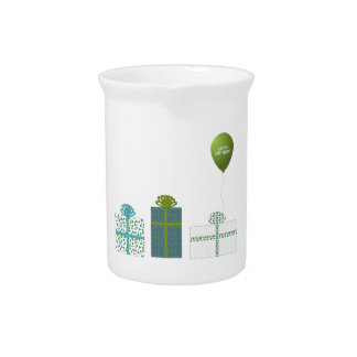 Modern Green and Turquoise Happy Birthday Pitcher