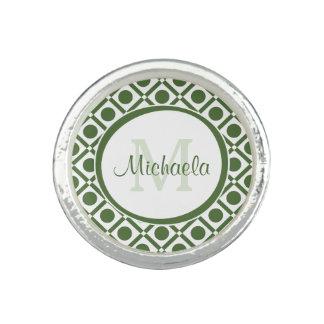 Modern Green and White Geometric Monogrammed Name