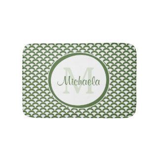 Modern Green and White Scallops Monogram and Name Bath Mats