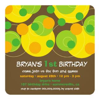 Modern Green Bubble Dots Boy 1st Birthday Invite