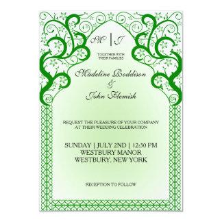 Modern green flower ornamental wedding invitation