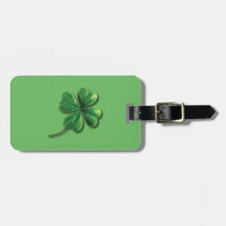Modern Green Irish Shamrock Luggage Tag