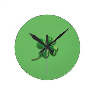 Modern Green Irish Shamrock Round Clock