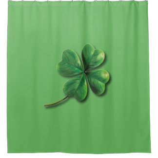 Modern Green Irish Shamrock Shower Curtain