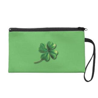 Modern Green Irish Shamrock Wristlet