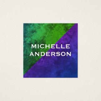 Modern Green Purple Colour Blocks Square Business Card
