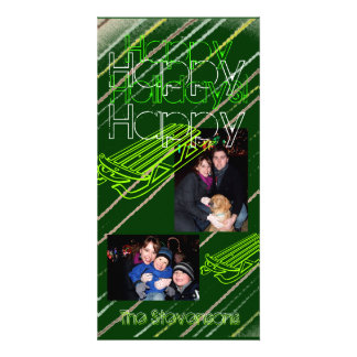 Modern Green Sledding Holiday Photo Card