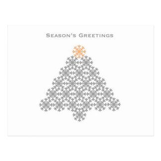 Modern Grey Snowflake Christmas Tree Postcard