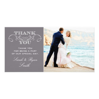 Modern Grey Wedding Photo Thank You Cards Personalized Photo Card