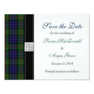 Modern Gunn Tartan Wedding Save the Date 11 Cm X 14 Cm Invitation Card