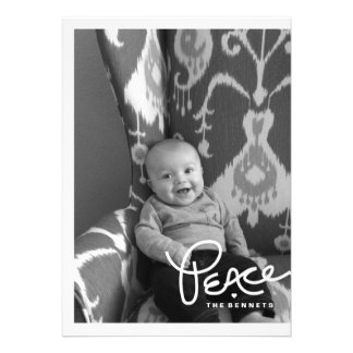 Modern Hand Lettered Peace Holiday Photo Card