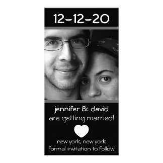 Modern Heart Save The Dates (Gray) Personalized Photo Card