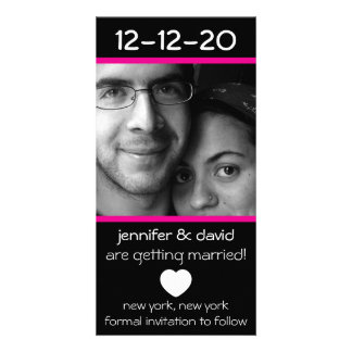 Modern Heart Save The Dates (Magenta Pink) Customised Photo Card
