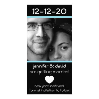Modern Heart Save The Dates (Pale Blue) Photo Greeting Card