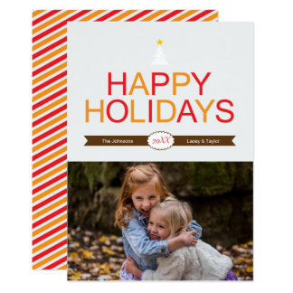 Modern Holiday Red, Gold & Brown Christmas Photo Card