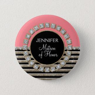 Modern Horizontal Stripe Glitter Look Bling Mod 6 Cm Round Badge