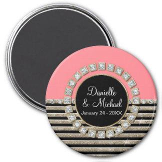 Modern Horizontal Stripe Glitter Look Bling Mod 7.5 Cm Round Magnet
