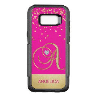 Modern Hot Pink Gold Monogram Initials 'A' OtterBox Commuter Samsung Galaxy S8+ Case